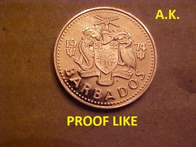 1974 Barbados  One Cent Coin  (PROOF LIKE )