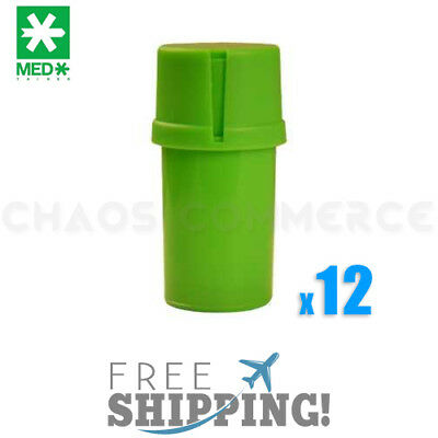 Lot of 12 MedTainer Storage Container with Built-In Grinder - Solid Color  Green