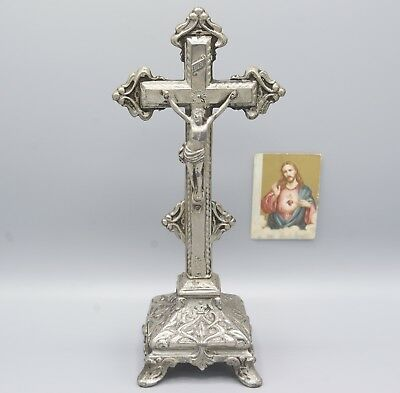 Antique Standing Cross Rare Crucifix Jesus Christ Corpus Pedestal Altar Ornate