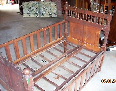 Antique Victorian Portable Folding Crib - Solid Oak - Extremely Rare