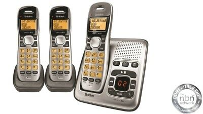 UNIDEN CORDLESS DIGITAL DECT 1735 + 2 (x 3 HANDSETS) + ANSWERING MACHINE - NEW