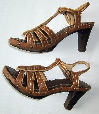 Colorado Shoes Ankle Strap Open Heels Tan Leather Women Size 8 As New