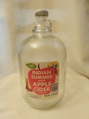 Vintage Indian Summer Apple Cider Label Glass Gallon Jug Evansville Indiana