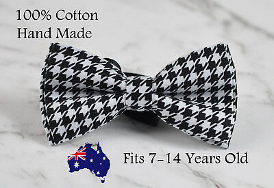 Toodler Boy Kids 100% Cotton Black and White Houndstooth Grids Bow tie Bowtie