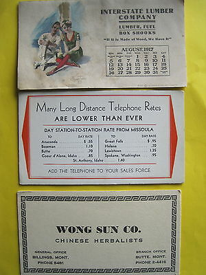 Lot of 3 Vtg INK BLOTTERS Montana Advertising Chinese Herbalist, Lumber Co. FINE