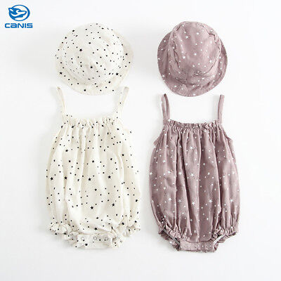 UK STOCK Toddler Newborn Baby Girl Kid Romper Bodysuit Hat Clothes Outfits 0-24M
