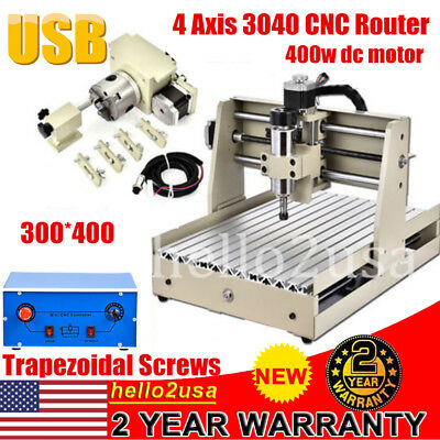 USB 3040 4Axis CNC Router Wood Carving Engraver Milling Cutting Machine Desktop
