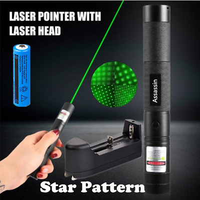 532nm Green Laser Pointer Pen 50Mile Visible Beam Light+Star Cap+Battery+Charger