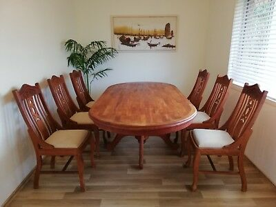 Colonial Style Dining Table Suite Set of 6 Seater. Hand Carved Hardwood.
