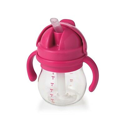 OXO Tot Transitions 6oz Straw Cup With Handles In Pink Comfortable Grip BPA Free