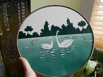 SWAN CIRCULAR TILE STYLISED ART DECO?/ TRAY. MARKS TO BACK (ref45)