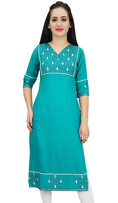 Bimba Women's Designer Teal Blue Rayon Mirror Embroidery Casual Sassay Tunic