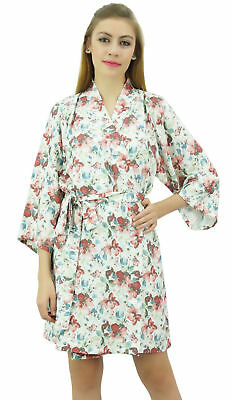 Bimba Women's Off-White Floral Printed Georgette 3/4 Sleeve Bridesmaid Robe