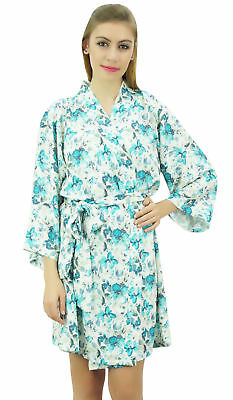 Bimba Women's Georgette Off-White Floral Printed 3/4 Sleeve Bridesmaid Robe