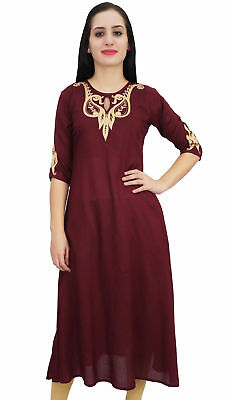 Bimba Womens Rayon Designer Maroon Embroidery A-Line Kurta Tunic With Pocket