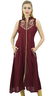 Bimba Womens Designer Sleeveless Maroon Embroidered A-Line Kurti With Pocket