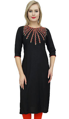 Bimba Women's Black Designer Tunic Embroidered Kurta Custom Kurti Blouse
