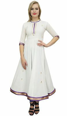 Bimba Women's Designer Flared Anarkali Dress White Ethnic Kurta Kurti Tunic
