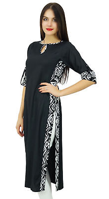 Bimba Women Plain Black Kurta Straight Rayon Kurti Casual Wear Chic Tunic Indian