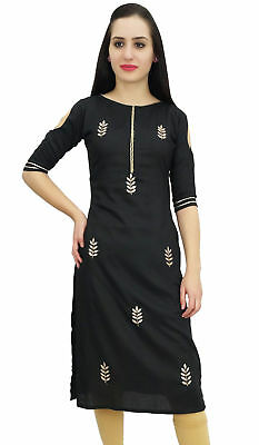 Bimba Women's Black Tunic Embroidery Designer Kurti Indian Festive Kurta