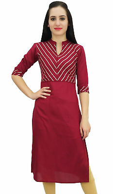 Bimba Women's Maroon Designer Tunic Kurta Kurti Indian Ethnic Party Wear