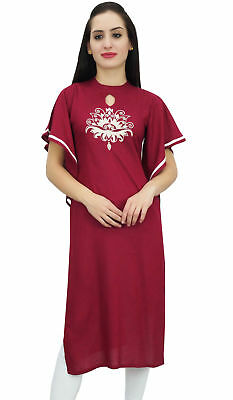 Bimba Women's Maroon Straight Casual Kurti Indian Designer Embroidered Kurta