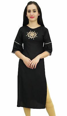 Bimba Women's Ethnic Black Tunic Kurti Designer Mandala Embroidered Kurta Top