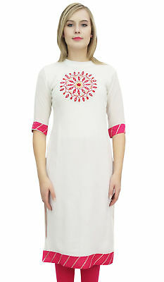Bimba Women's Designer White Kurta Kurti Mandala Embroidered Ethnic Tunic