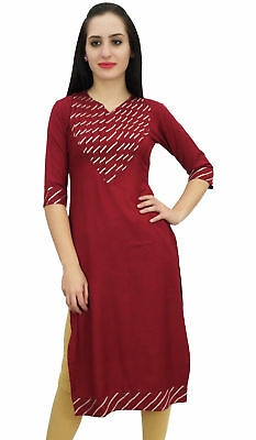 Bimba Women's Ethnic Maroon Designer Tunic Indian Kurti Long Blouse Kurta