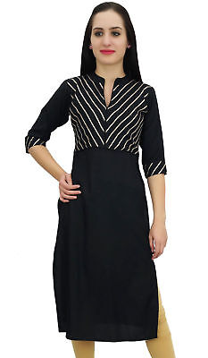 Bimba Women's Black Designer Tunic Kurta Kurti Indian Ethnic Party Wear
