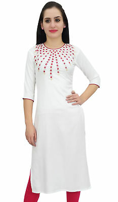 Bimba Women's White Designer Tunic Embroidered Kurta Custom Kurti Blouse