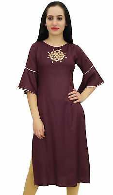 Bimba Women's Ethnic Maroon Tunic Kurti Designer Mandala Embroidered Kurta Top