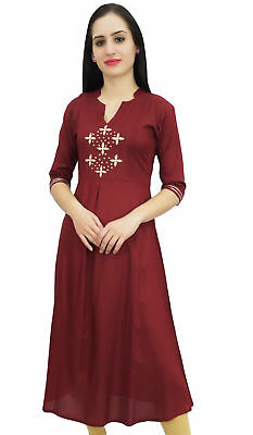 Bimba Women's Maroon Designer Tunic A-Line Kurta Kurti Indian Ethnic Wear Top
