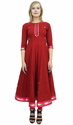 Bimba Women's Designer Flared Anarkali Dress Maroon Ethnic Kurta Kurti Tunic