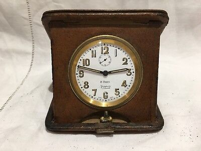 Antique Mappin 8 Day Leather Travel Clock Swiss Made