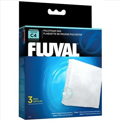 Fluval Hang On C4 Poly/Foam Pad - Pack of 3