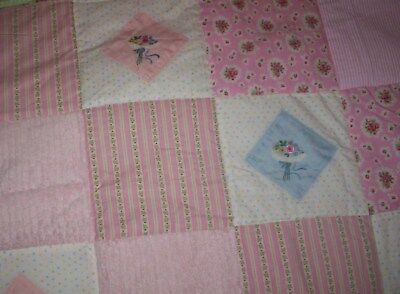 Beautiful Homemade Baby Quilt  Wonderful flower/ pink/ chenille & cotton squares
