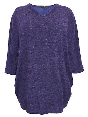 Womans plus size 20 to 32   TOP 3/4 sleeve loose fit purple knit sweater jumper