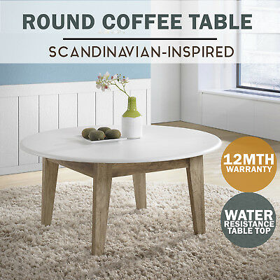 MEYA Round Coffee Table Scandinavian WHITE Oak Modern Furniture