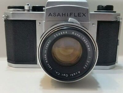 VERY RARE Asahiflex H2 35 mm SLR Camera with vintage case and manual NOT WORKING