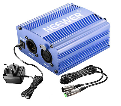 Neewer 1-Channel 48V Phantom Power Supply Blue with Adapter & Microphone Cable