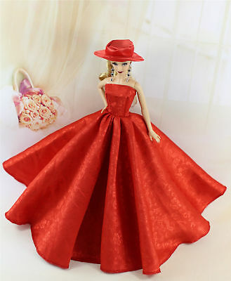Red Fashion Royalty Princess Party Dress/Clothes/Gown+hat For 11.5in.Doll YU09