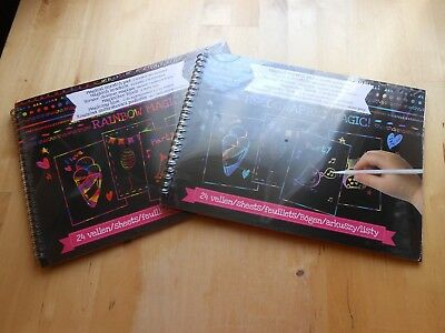 Magischer Block Malbuch Rainbow Magic Silver Holographic + Stift Kratzblock