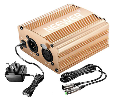 Neewer 1-Channel 48V Phantom Power Supply Gold with Adapter & Microphone Cable