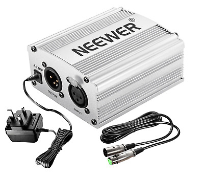 Neewer 1-Channel 48V Phantom Power Supply Silver with Adapter & Microphone Cable
