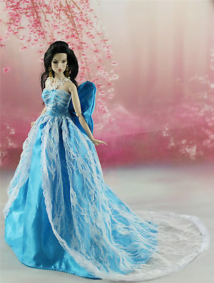 Blue Fashion Royalty Princess Party Dress/Clothes/Gown For 11.5in.Doll Y156U