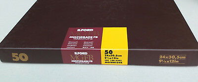 "Ilford Multigrade Fibre Base Warmtone Semi-Matt 91/2 x 12"" B & W Paper (50 shts)"