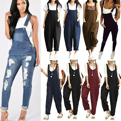 Women Dungarees Overall Playsuit Jumpsuit Romper Long Pants Trouser Casual Loose