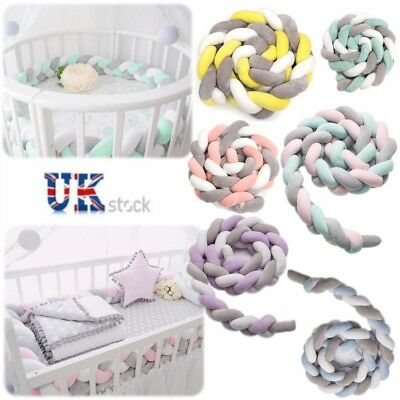 Baby Bedding Bumper Long Knotted Pillow Braided Crib Colorful Plush Knot Cushion