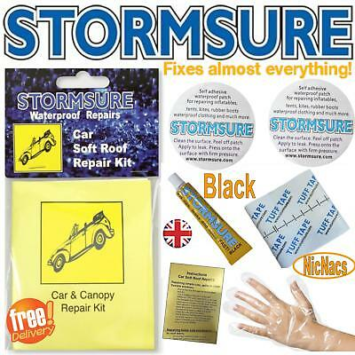 Black Soft Top Car Roof Convertible Repair Kit Includes Patches & Glue Stormsure